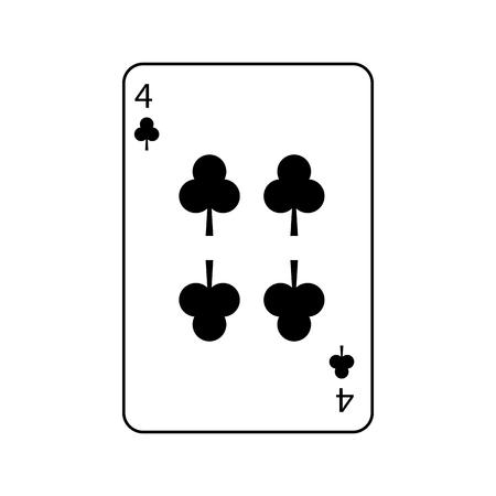 Cuatro del trébol o los clubs juego de naipes francés relacionado diseño del ejemplo del vector de la imagen del icono Foto de archivo - 90184392