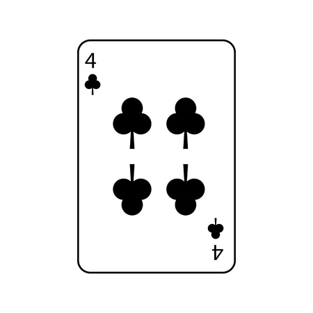 four of clover or clubs french playing cards related icon image vector illustration design