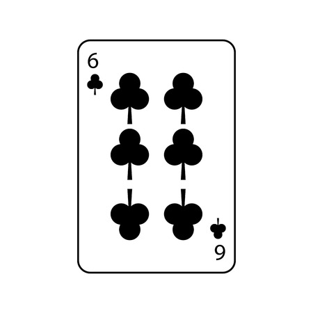 six of clover or clubs french playing cards related icon image vector illustration design
