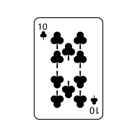 클로버 또는 클럽 10 카드 놀이 관련된 아이콘 이미지 벡터 일러스트 디자인 일러스트