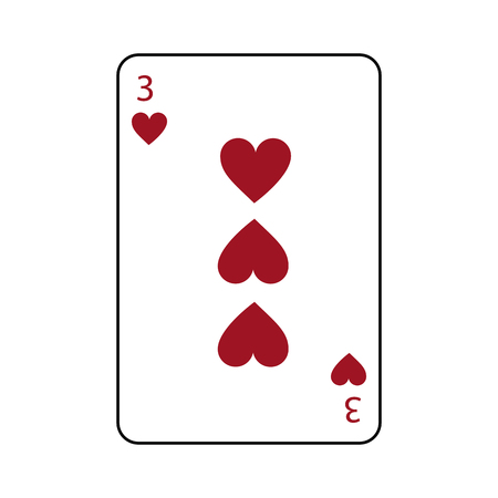 three of hearts french playing cards related icon image vector illustration design