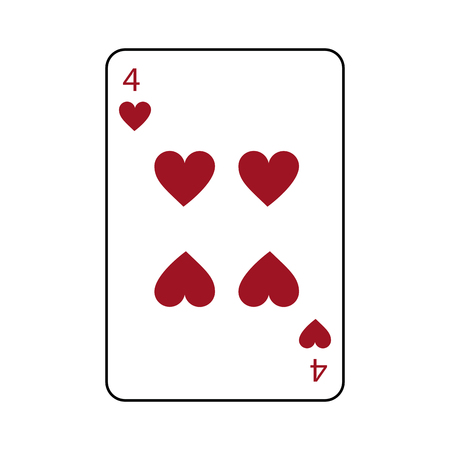 four of hearts french playing cards related icon image vector illustration design