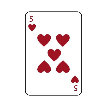Cinque di progettazione dell'illustrazione di vettore di immagine dell'icona relativa carte da gioco francesi dei cuori Archivio Fotografico - 90167736