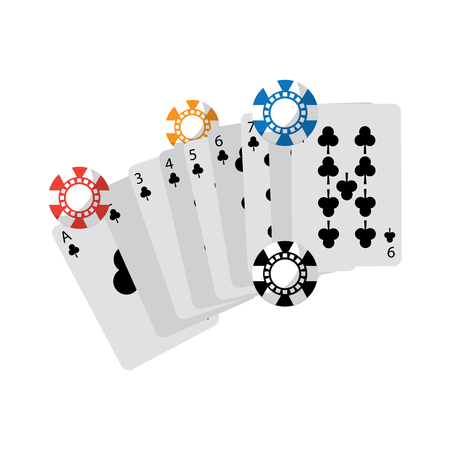 cards with chips casino related icons image vector illustration design