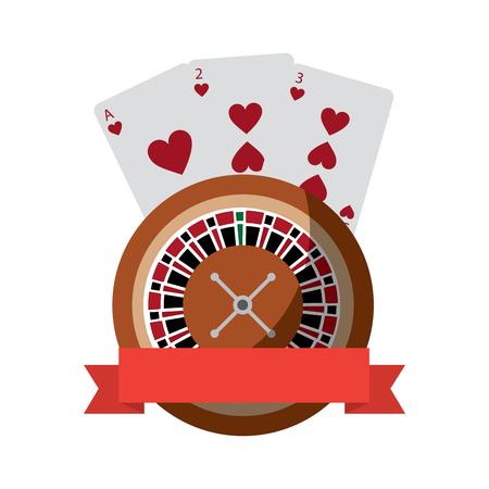 Roulette mit Kartenemblem Kasino bezog sich Ikonenbildvektor-Illustrationsdesign Standard-Bild - 90169202