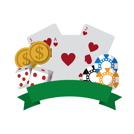 cards with chips dice and coins emblem casino related icons image vector illustration design  向量圖像