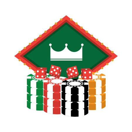 クラウンのエンブレムとダイスのカジノ チップ関連のアイコン画像ベクトル イラスト デザイン