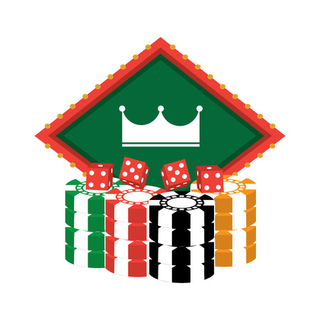 왕관 엠 블 럼와 주사위 카지노 카지노 관련 아이콘 이미지 벡터 일러스트 디자인