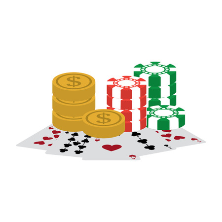 chips coins cards casino related icons image vector illustration design Imagens - 90169211