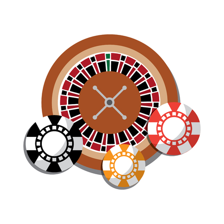 roulette with chips casino related icons image vector illustration design