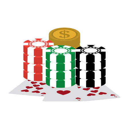 chips with cards and coins casino related icons image vector illustration design