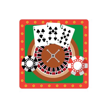 カードやチップのカジノでルーレットのテーブル関連のアイコン画像ベクトル イラスト デザイン  イラスト・ベクター素材