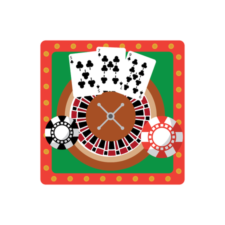 roulette table with cards and chips  casino related icons image vector illustration design Фото со стока - 90169239