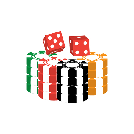 chips with dice casino related icons image vector illustration design  向量圖像