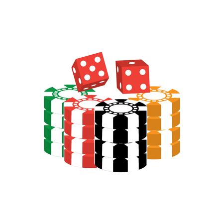 fichas con casino dados diseño de ilustración de vector de imagen de iconos relacionados Ilustración de vector