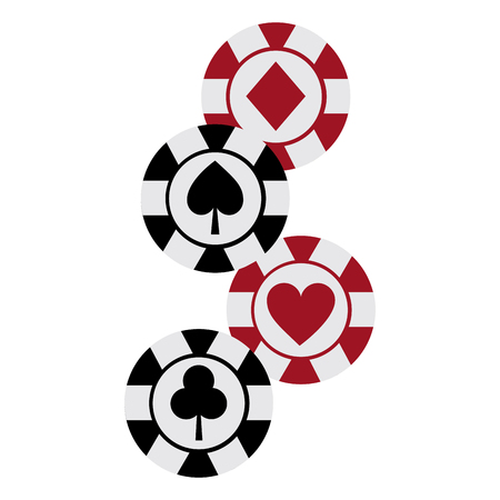 chips diamond heart clover spade suit casino related icons image vector illustration design