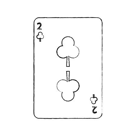 클로버 또는 클럽 중 두 카드 놀이 관련된 아이콘 이미지 벡터 일러스트 디자인 검은 스케치 라인 일러스트