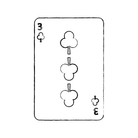 クローバーやクラブの 3 つのフランスのトランプ関連アイコン画像ベクトル イラスト デザイン黒スケッチ線