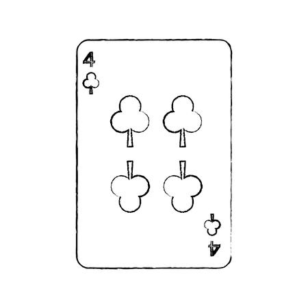 クローバーやクラブの 4 つのフランスのトランプ関連アイコン画像ベクトル イラスト デザイン黒スケッチ線
