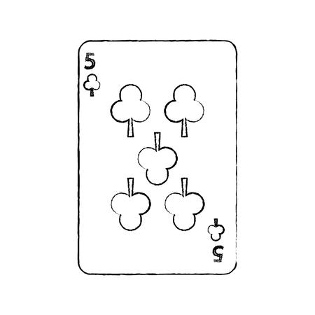 Cinco de trébol o clubes tarjetas de juego francés relacionados con el icono de imagen ilustración vectorial diseño línea de boceto negro Foto de archivo - 90169286
