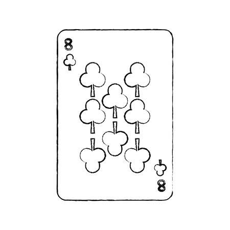 クローバーやクラブの 8 つのフランスのトランプ関連アイコン画像ベクトル イラスト デザイン黒スケッチ線  イラスト・ベクター素材