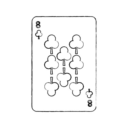 eight of clover or clubs french playing cards related icon image vector illustration design  black sketch line