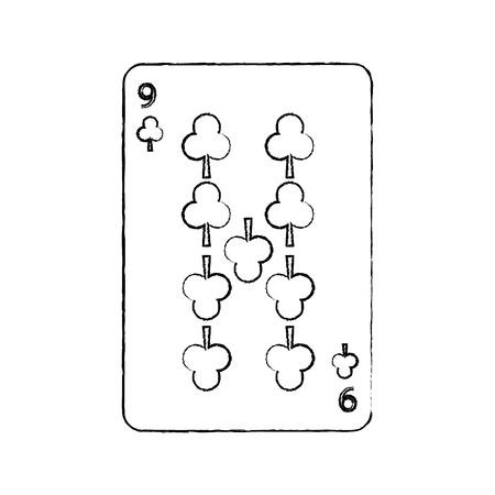 Nove de trevo ou clubes francês jogando cartas relacionados ícone imagem vetorial ilustração de design preto esboço linha Foto de archivo - 90169298