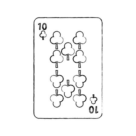 Diez de trébol o clubes juego de cartas francés relacionados con el diseño de ilustración de vector de imagen línea de dibujo negro Foto de archivo - 90169301