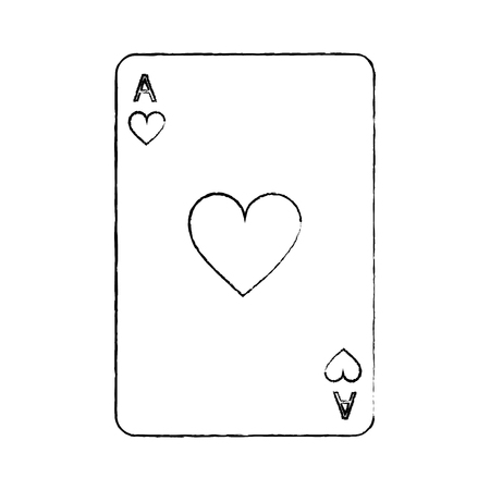 ace of hearts french playing cards related icon image vector illustration design  black sketch line Çizim