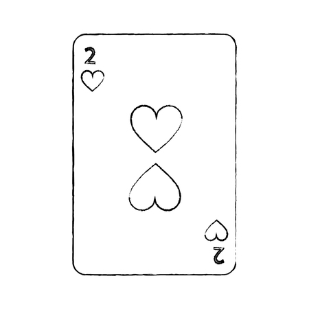 two of hearts french playing cards related icon image vector illustration design  black sketch line