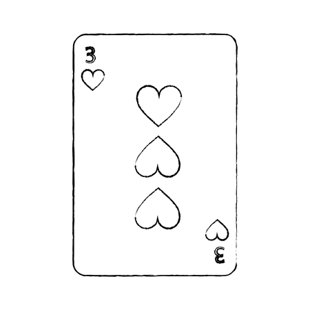 three of hearts french playing cards related icon image vector illustration design  black sketch line
