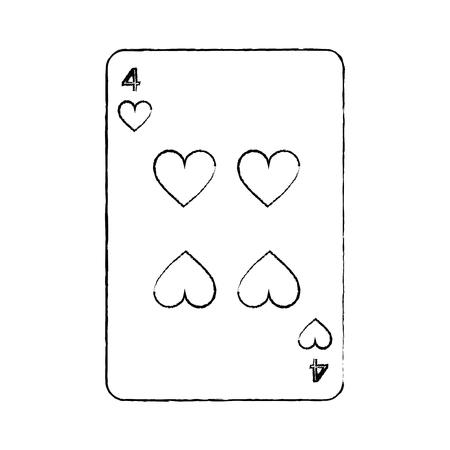 cuatro de los corazones juego de cartas francés relacionados con la imagen del icono vector de diseño línea de dibujo negro