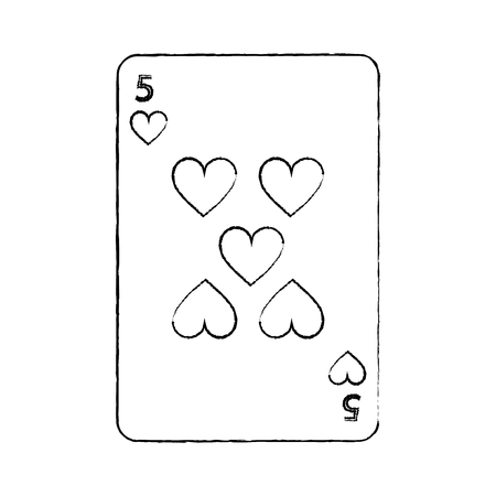five of hearts french playing cards related icon image vector illustration design  black sketch line