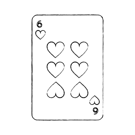 six of hearts french playing cards related icon image vector illustration design  black sketch line Illustration