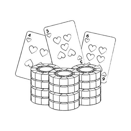 poker chips and cards casino betting game vector illustration Ilustração