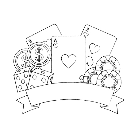 Poker del casinò con i dadi delle carte da gioco e l'illustrazione di vettore dell'insegna dei chip di gioco Archivio Fotografico - 90169641