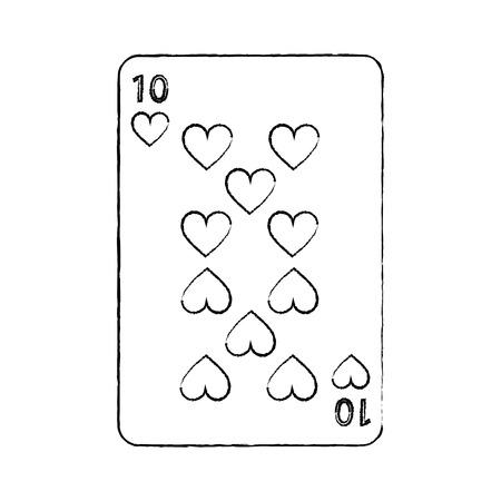 diez de corazones juego de cartas francés relacionados con la imagen del icono vector de ilustración diseño línea de dibujo negro