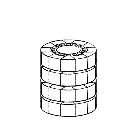 chips casino related icons image vector illustration design  black sketch line