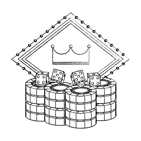 pocker casino bord kroon gokken kans embleem met dobbelstenen chips vector illustratie Stock Illustratie