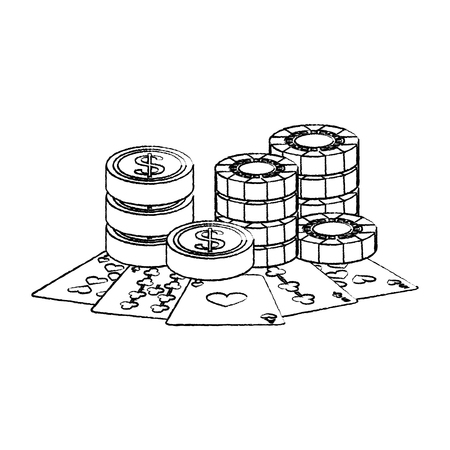 casino poker card coins money and stak chips vector illustration