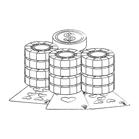 playing cards with casino coins and stack chips gambling vector illustration