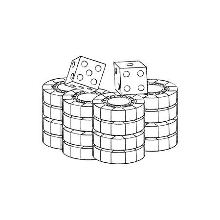 gestapelde chips en dobbelstenen voor het spel in de casino vectorillustratie
