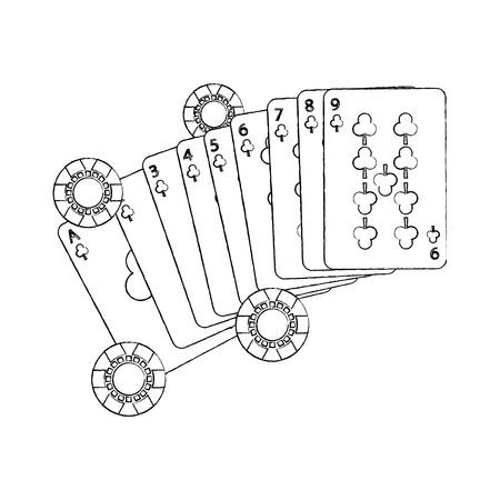Illustrazione fortunata di vettore di concetto del gioco di carte e chip del poker del casinò Archivio Fotografico - 90170466