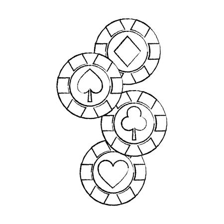casino chips club heart spade and diamond gamble symbol vector illustration
