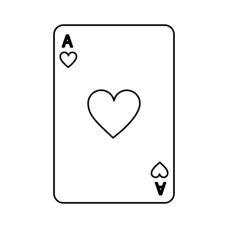 poker casino ace heart card playing icon vector illustration Çizim