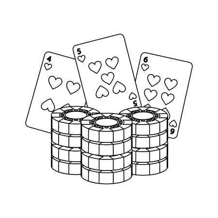 poker chips and cards casino betting game vector illustration Çizim