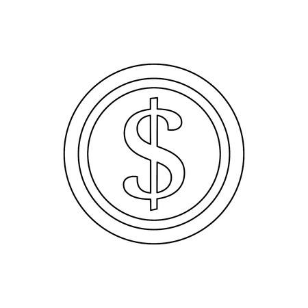 dollar coin money cash casino fortune vector illustration