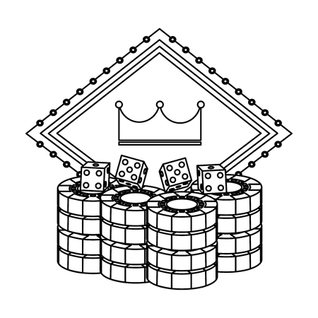 pocker casino board crown gambling chance emblem with dice chips vector illustration Illusztráció