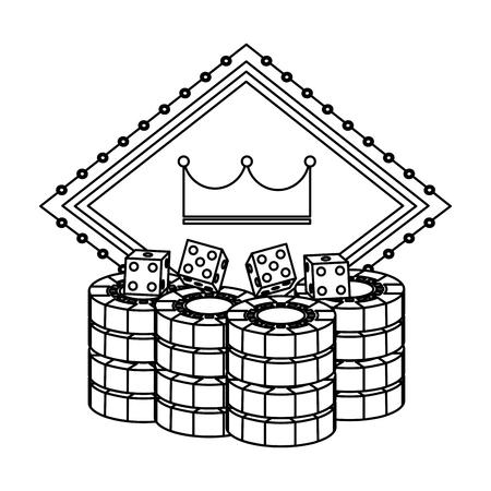 pocker casino board crown gambling chance emblem with dice chips vector illustration Illustration