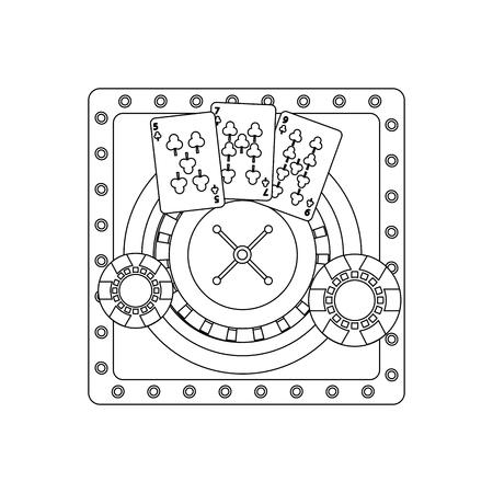 カジノ ポーカー ルーレット トランプやチップを設計ベクトル図